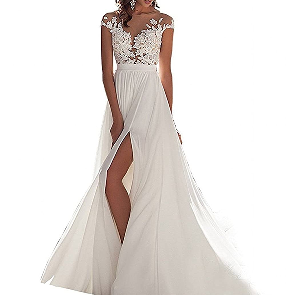 ANJURUISI Simple gasa playa vestidos de novia nupcial para bodas: Amazon.es: Ropa y accesorios