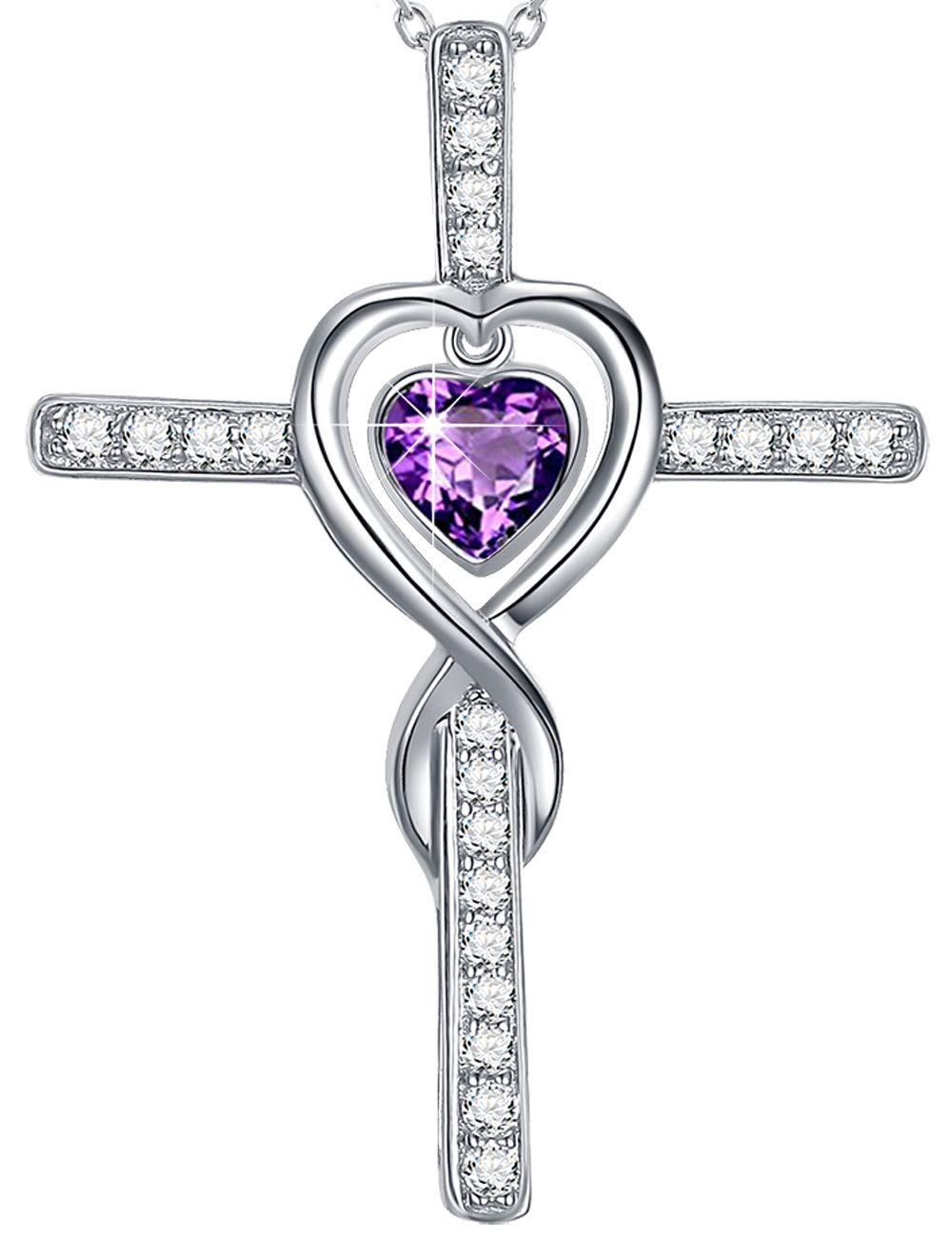 Love Infinity God Cross Necklace Gifts for Women Purple Amethyst Fine Jewelry Anniversary Birthday Gifts for Her Wife for Daughter Girlfriend Fiancee Sterling Silver Swarovski 18''+2'' Chain