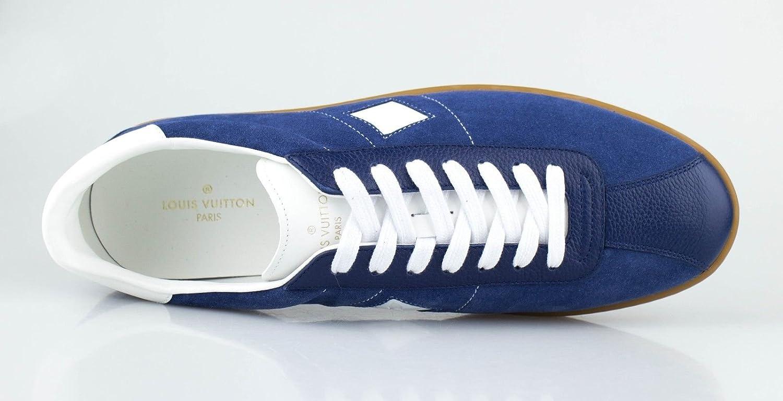 fa23c0d7b12 Amazon.com : LOUIS VUITTON. Luxembourg' Blue Leather Sneakers Shoes ...
