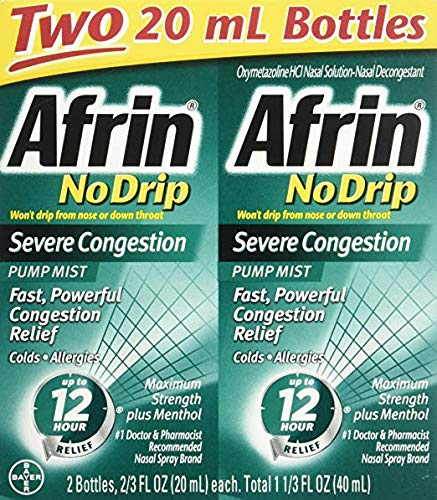 Afrin No Drip Severe Congestion Nasal Decongestant Pump Mist VarietySize 3 Pack (20 mL Bottle X 2)) Natural & Artificial Flavors by Afrin