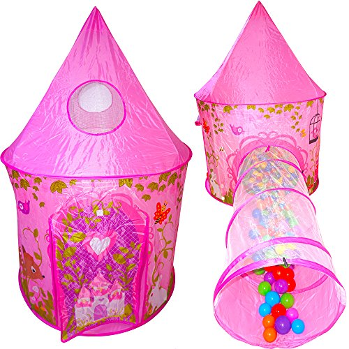 Playz 2pc Girls Princess Fairy Tale Castle Play Tent & Crawl Tunnel w/ Pink Prairie Design - Foldable for Indoor & Outdoor Use w/ Zipper Storage (Girls Tent)