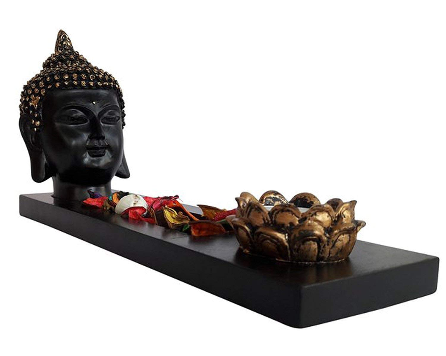 TIED RIBBONS Buddha Tlight Holder with T-Light Candle and Wooden Tray for Home Decoration Living Room Office Drawing Room