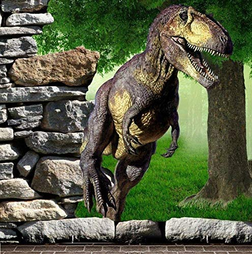 Baocicco Dinosaur Backdrop Boy Birthday 5X5ft Cotton Polyester Photography Background Jurassic Tyrannosaurus Mesozoic Dinosaur Park Fantasy Forest Dinosaur Background Children Adults Portrait Prop