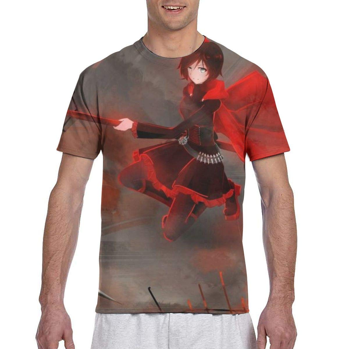 RWBY-Rad Anime Mens Two Side Print Polyester Short Sleeve Shirt