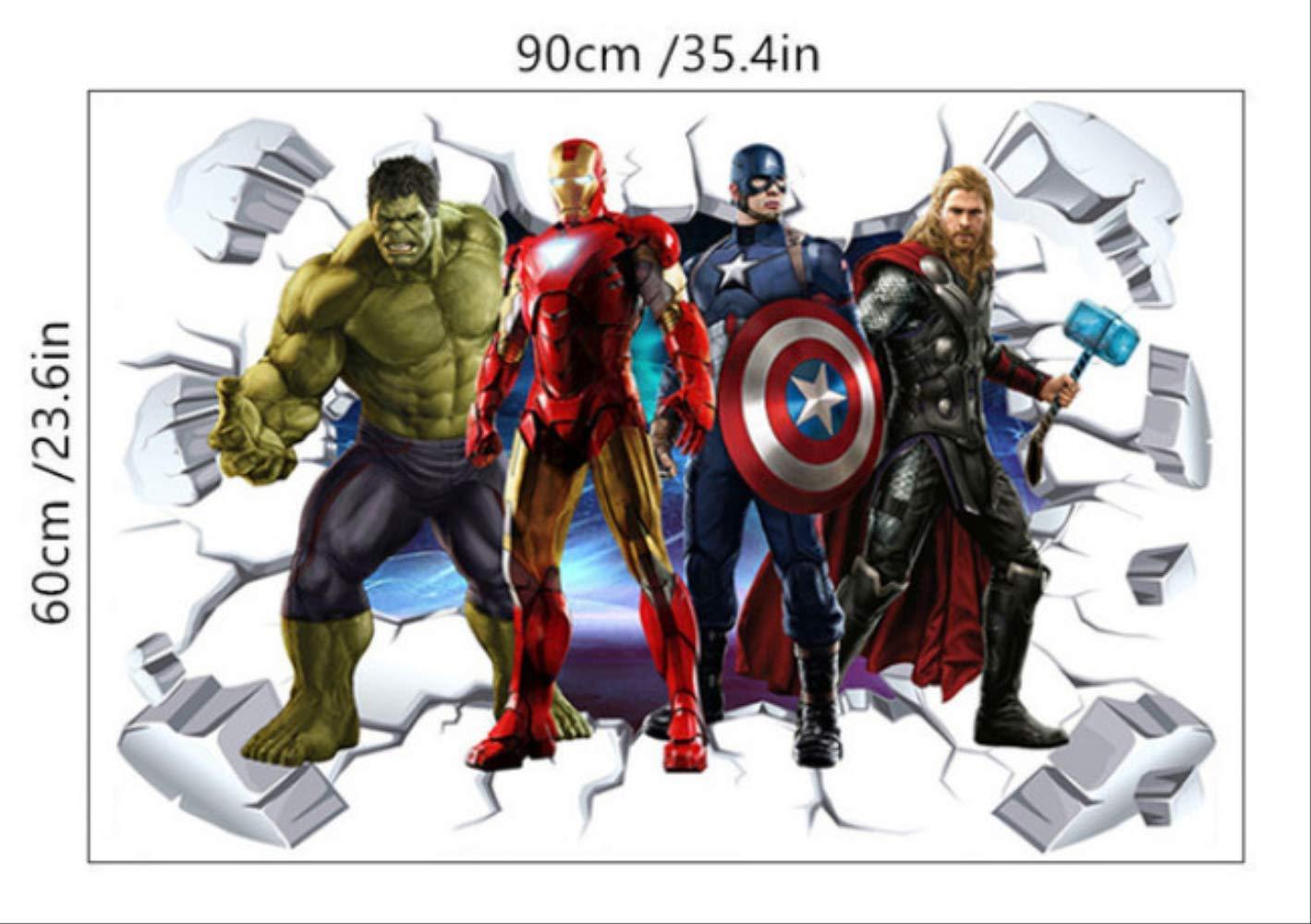 IRON MAN 3D Window View Decal WALL STICKER Home Decor Art Avengers Wallpaper