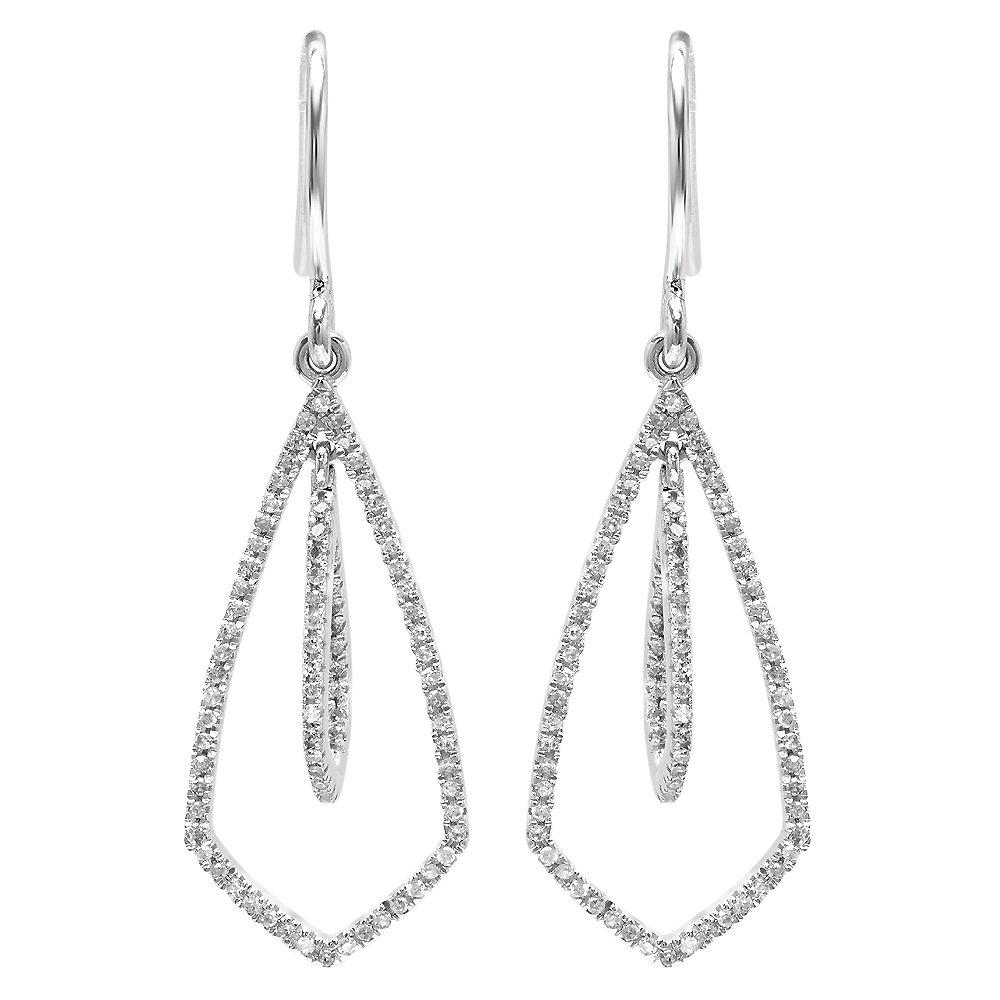 Dazzlingrock Collection 0.22 Carat (ctw) 14K Round White Diamond Ladies Kite Shape Dangling Drop Earrings 1/3 CT, White Gold