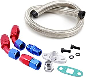 Anngo Turbo Oil Return Drain Line Kit T3 T4 T04E T60 T61 T70 Silver