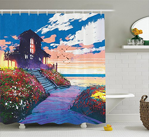 [Fantasy Art House Decor Shower Curtain Cottage Beach House at Seascape Floral Garden with Gulls Skyline Scene Fabric Bathroom Decor Set with Hooks] (The Pope Costume At The White House)