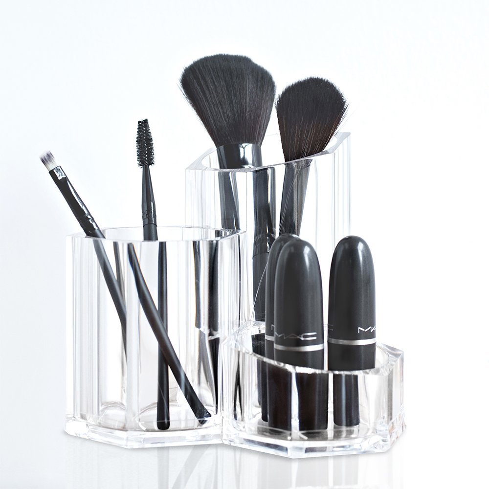 acrylic makeup brush holder cosmetic organizer beauty supply storage display new 643530119400 ebay. Black Bedroom Furniture Sets. Home Design Ideas