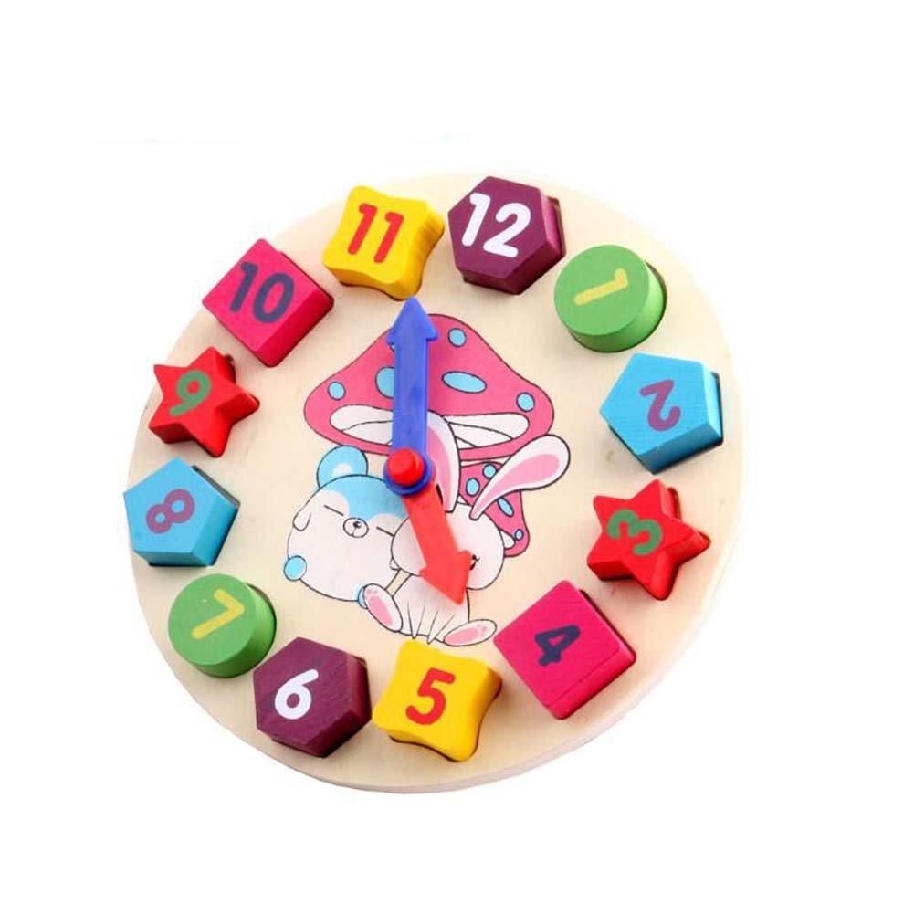 NOQクロック形状ブロックおもちゃ/子供木製教育玩具   B01M3RBFW1
