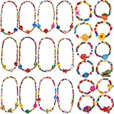 Outee 24 Pcs Girls Play Jewelry Toddler Costume Jewelry Princess Necklace Bracelet Set Jewelry Girls Play Dress Up Pretend Play Jewelry Kit Party Favors