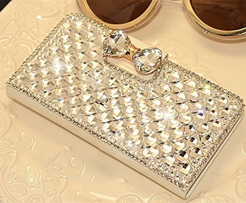 Moonmini High Quality White Extreme Deluxe Luxury 3D Fashion Glitter Bling Diamond Rhinestone Crystal Bow Bow Bowknot Bone PU Flip Wallet Leather Case Cover For Smart Mobile Phones ( LG Optimus L90, White)