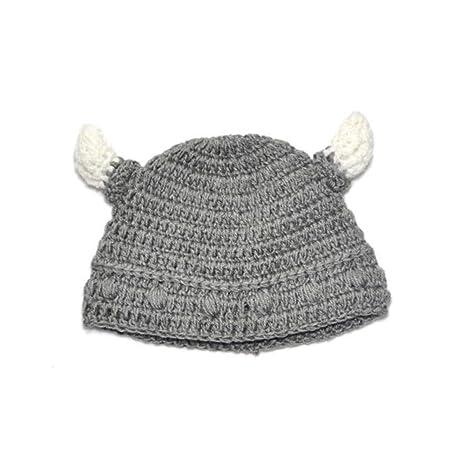 e0543d39f Baby Bull Horn Beanie Handmade Knitting Viking Hat Ox Horn Cap for ...