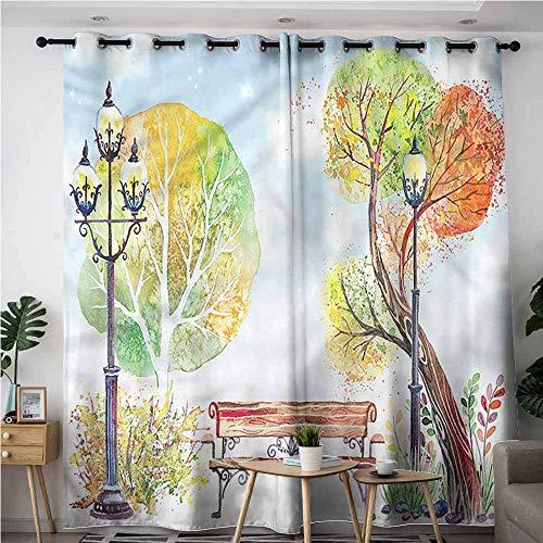 (XXANS Indoor/Outdoor Curtains,Lantern,Romantic Watercolor Park,Blackout Window Curtain 2 Panel,W72x96L)