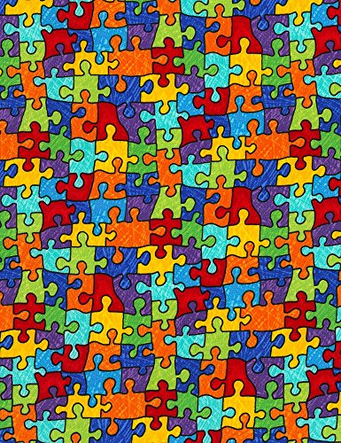 (Timeless Treasures Crayon Party Puzzle Pieces Quilt Fabric Multi Style C6344)