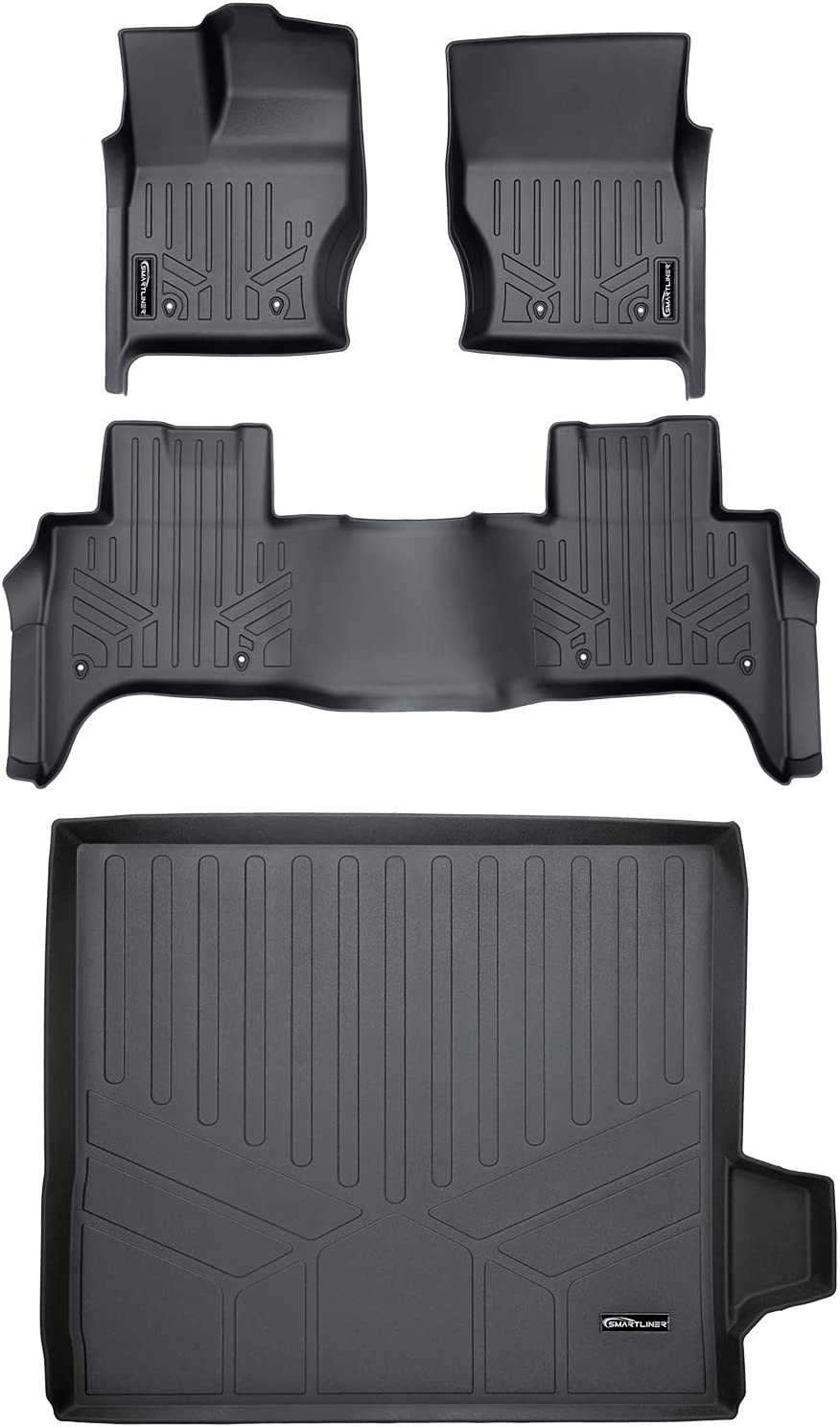 MAXLINER Floor Mats 2 Rows and Cargo Liner Trunk Set Black for 2014-2020 Land Rover Range Rover Sport (5 Passenger Model)