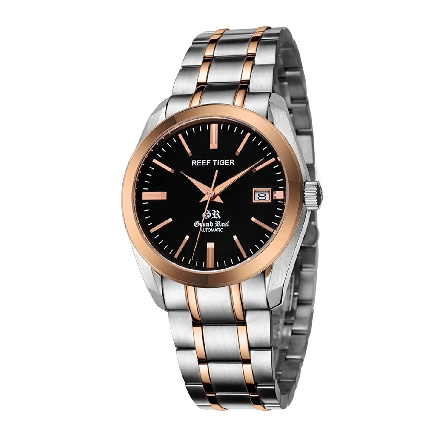 Amazon.com: Reef Tiger Dress Watches for Men Analog Display Automatic Watches Black Dial Rose Gold Watches RGA818: Watches