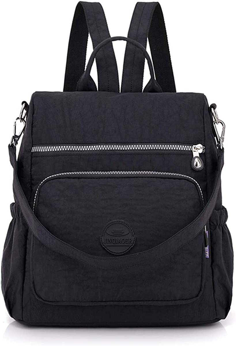 JOSEKO Women Casual Nylon Ladies Backpack Multi-function Anti-theft Waterproof Shoulder Bag