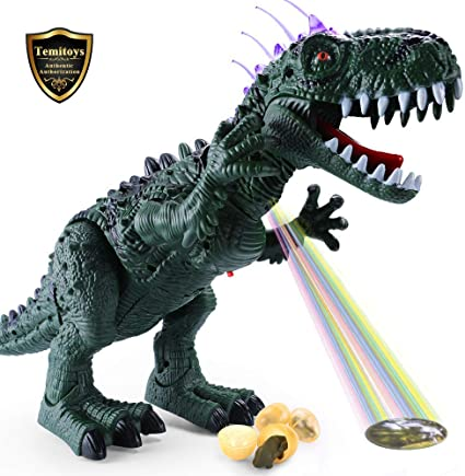 LED Egg-laying Walking Dinosaur Light Up Kids Toy Figure Sounds Movement Gifts