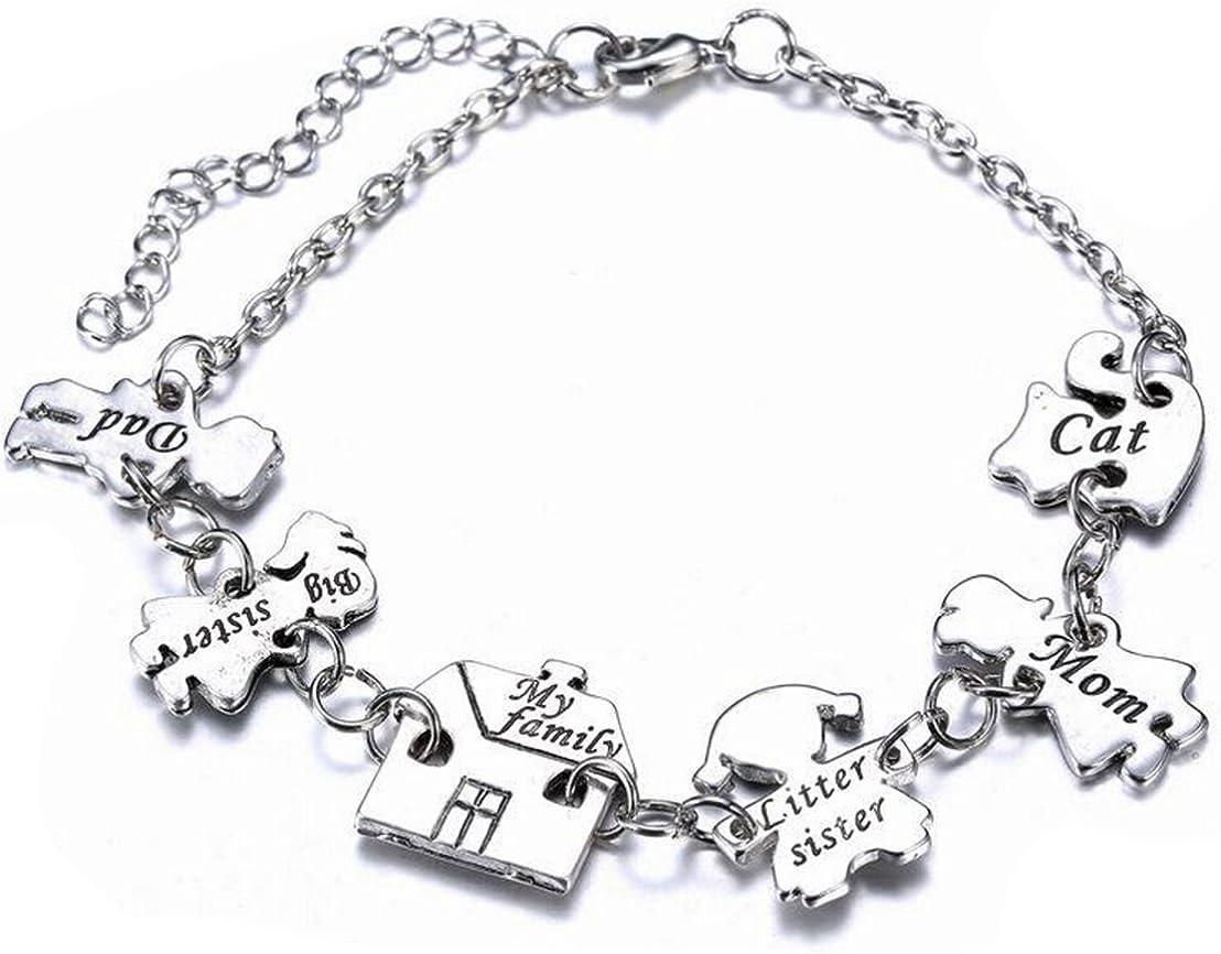 Gudeke - Pulsera de plata para mujer, diseño de alfabeto inglés, regalo para el Día de la Madre, 18 cm