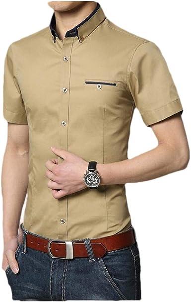 dahuo - Camisa de Manga Corta para Hombre con Bolsillo en el ...
