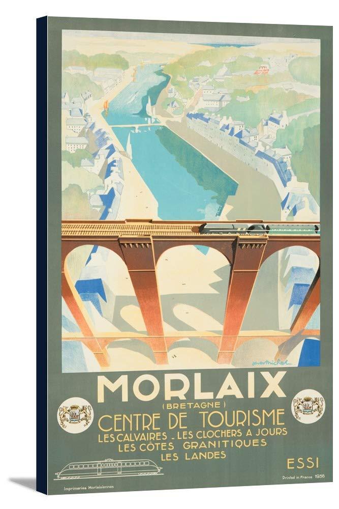 Morlaixヴィンテージポスター(アーティスト: Michel )フランスC。1936 22 3/8 x 36 Gallery Canvas LANT-3P-SC-61080-24x36 B0184B088A  22 3/8 x 36 Gallery Canvas