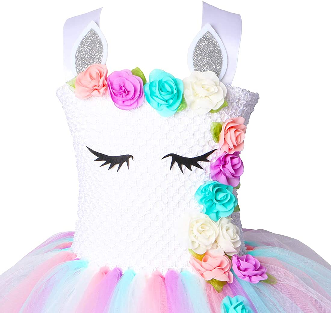 PURFEEL Girls Unicorn Tutu Dress Kids Birthday Party Dress Unicorn Costume