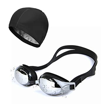 Sunzit Gafas de Natación, Gafas de natación para Adultos,Hombres, Mujeres con Gorra