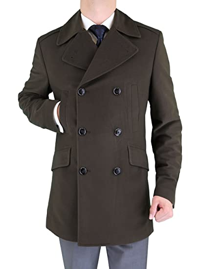 d4aacf20d7e LN LUCIANO NATAZZI Men s Stretch Wool Blend Trim Fit Pea Coat at Amazon  Men s Clothing store