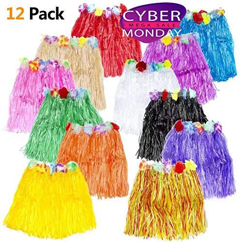 12PCS Hawaiian Luau Hula Skirts grass Skirts - Luau Party Supplies Hula Dancer Skirt Lei Different Colors Hawaiian decoration ()