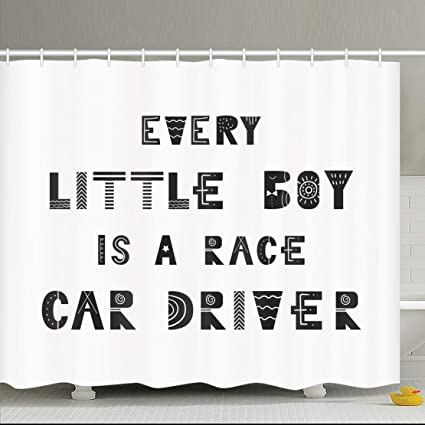 AileenREE Shower Curtains 66 X 72 Inches Letter Every Little Boy Monochrome Race Car Driver Nursery