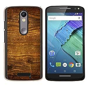 LECELL--Funda protectora / Cubierta / Piel For Motorola MOTO X3 3rd -- Modelo de madera natural de la textura Brown Pared --