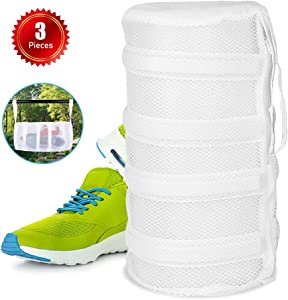 REKOBON Shoes Wash Bags, Mesh Laundry Wash Bag for Shoes, Mesh Laundry Dryer Wash Bag with Durable Zipper, Set of 3 Shoes Clothing Laundry Bag for Washing Dryer Machine