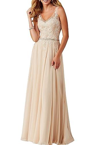 Meledy Women's V-Neck Sequins Lace Appliques Long Chiffon Party Evening Dress