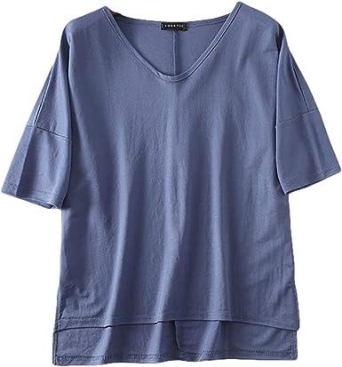 Insun Mujer Camisa Suelta Camisetas Manga Corta Blusa de Lino de Algodón Azul Talla única: Amazon.es: Ropa y accesorios