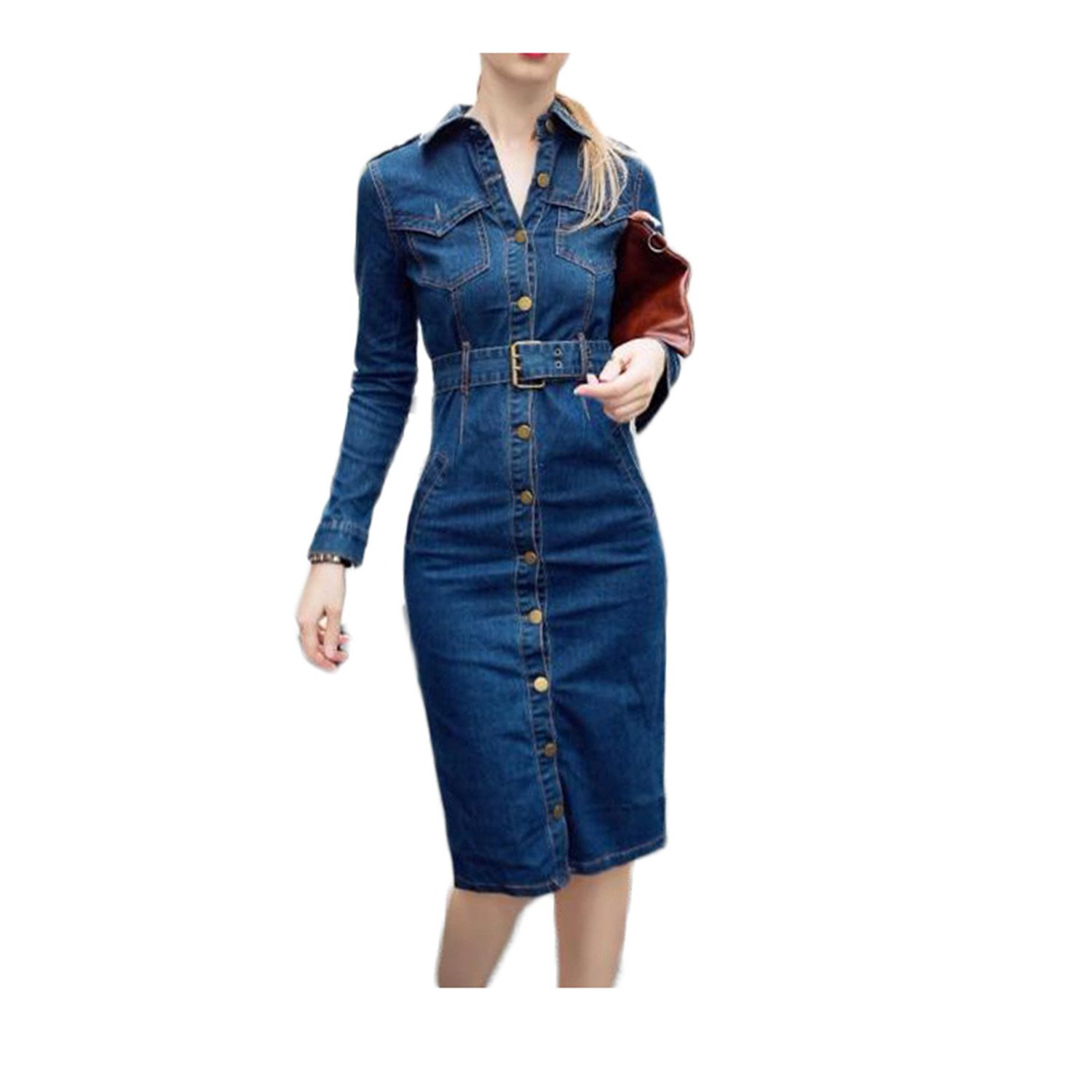 Amazon.com: Stevenurr Popular,Hot Sell Summer Tunic Shirt Dress Women Denim Vintage Long Sleeve Jeans Dresses Party Sexy Plus Size Dress Blue XXL Beautiful: ...