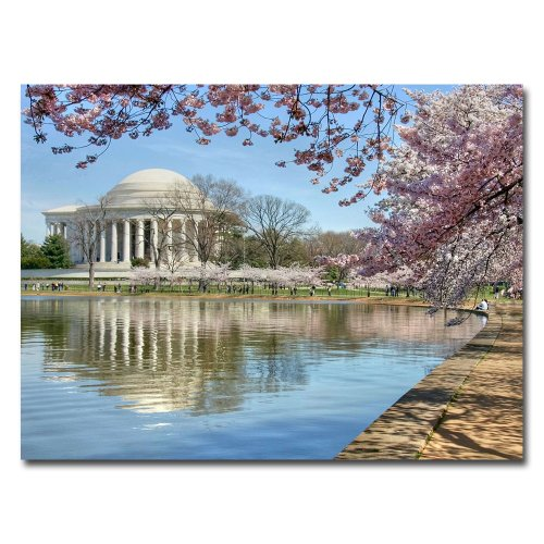 Jefferson Memorial by CATeyes, 18x24-Inch Canvas Wall Art by Trademark Fine Art