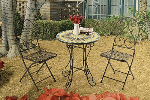 This little mosaic bistro set is a cute balcony furniture idea that adds charm to your small space