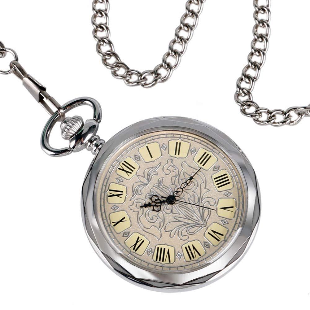 Luxury Pocket Watch, Irregular Silver Open Face Pocket Watch for Men Women, Mechancial Hand Wind Pocket Watch Gift by mygardens (Image #3)
