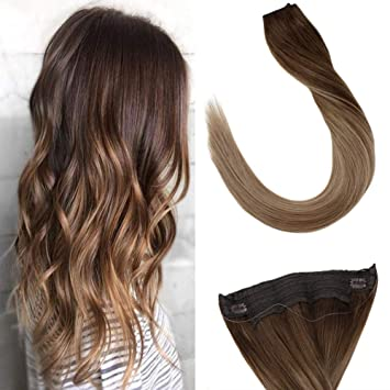 Laavoo 16 Adjustable Invisible Wire Halo Hair Extensions Balayage Color Medium Brown Mixed Light Brown With Dark Golden Blonde Halo Remy Human Hair