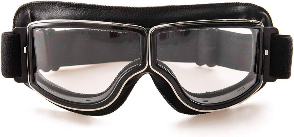 evomosa Gafas de moto Gafas de sol a prueba de viento de cuero de la PU Gafas deportivas Gafas de bicicleta retro para ATV Bike Gafas de motocross (negro B)