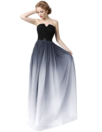 Sarahbridal V Neck Pleated Prom Dresses Elegant Gradient Color Chiffon Dress With Sashes For Women SSD231