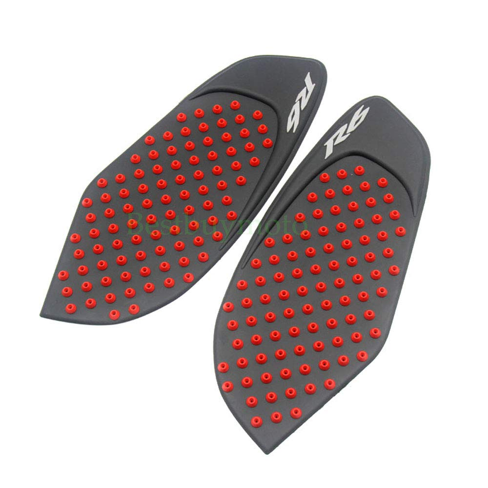 Red Tank Gas Pad Knee Fuel Side Grips Protector For Yamaha YZF R6 2008-2015