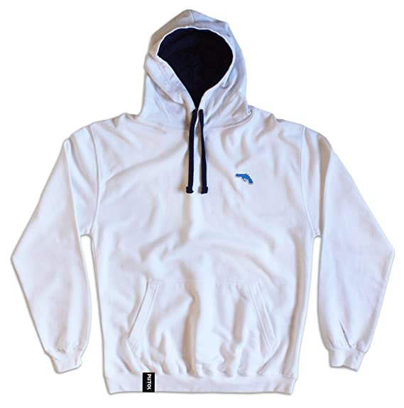 2e02e20e7 Pistol Boutique Mens White Pullover Embroidered Chest Logo Hoodie (Small)