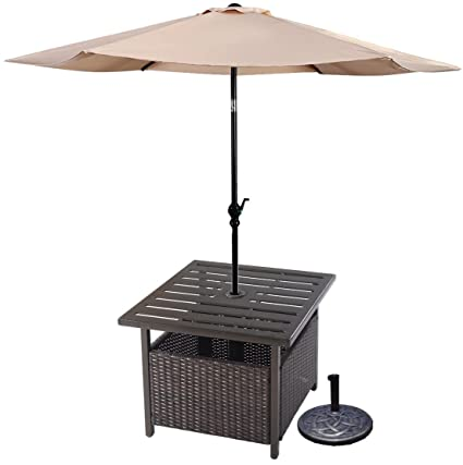 Exceptionnel Premium Side Table + 9ft Tilt Adjustable Umbrella Patio Outdoor Furniture  Set For Outdoor Deck Garden