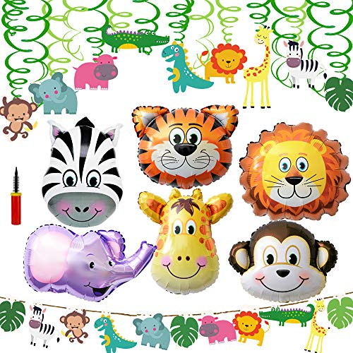 Supla VBS Safari Jungle Animals Hanging Decorations Green Safari Party Forest Animal Theme Supplies for Baby Shower Kids 1st Birthday Nursery School Classroom Bedroom Bathroom Table Ceiling Decor -