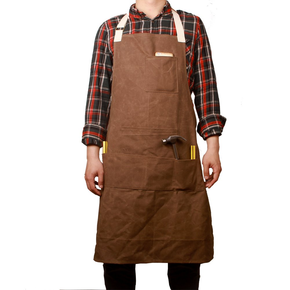 Waxed Canvas Tool Aprons Heavy Duty Waterproof Workshop Apron Utility Cargo Apron Multi-function Bib Apron with 6 Handy Pockets Soft and Ventilated Suit for Kitchen Garden Pottery HSW-065#coffee