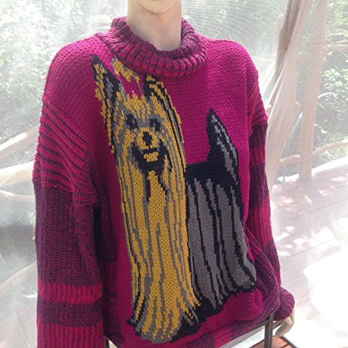 Yorkshire terrier cotton knit sweater, Large sweater with yorkie, cotton knit pullover oversize by NellieLaan