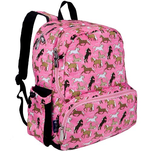 Wildkin 17 Inch Backpack, Durable Backpack with Padded Straps, Three Zippered Compartments, Moisture-Resistant Lining, and Two Side Pockets – Horses in Pink