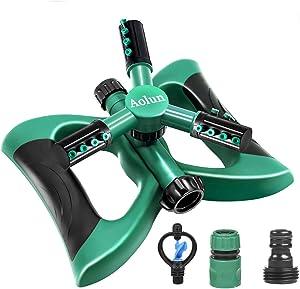 Garden Sprinkler Yard, Automatic 360 Rotating 3 Arms Adjustable Garden Water Lawn Sprinkler for Garden & Lawn Irrigation